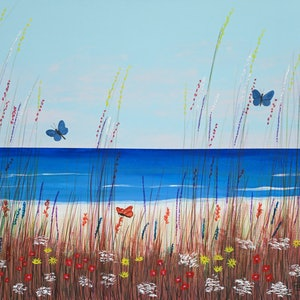 (CreativeWork) Summer At The Beach by Barry Johnson. mixed-media. Shop online at Bluethumb.