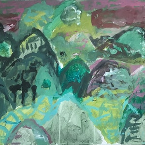 (CreativeWork) The mountains of the three black trees by Cameron Gillespie. arcylic-painting. Shop online at Bluethumb.