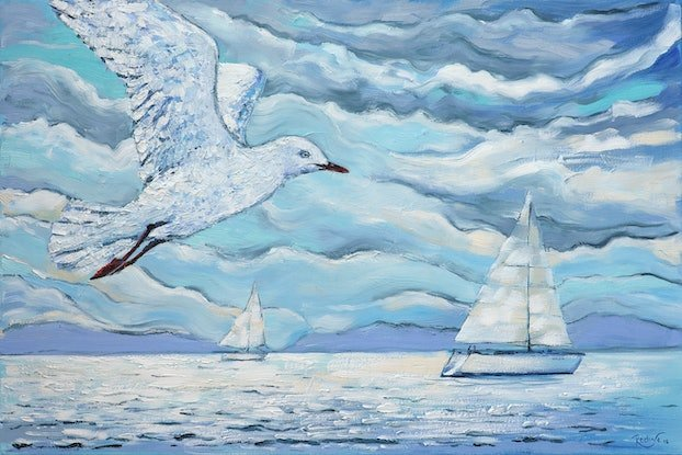 (CreativeWork) Racing with the wind by Irina Redine. Oil Paint. Shop online at Bluethumb.