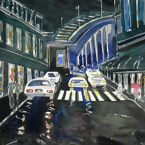 (CreativeWork) SYDNEY HARBOUR BRIDGE -The City by Night by Lise Staff. watercolour. Shop online at Bluethumb.