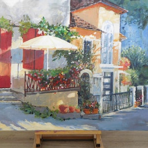 (CreativeWork) Village in France by Jean Parker. arcylic-painting. Shop online at Bluethumb.