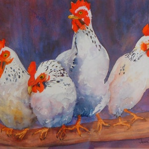 (CreativeWork) Chirping Chickens by Jean Parker. watercolour. Shop online at Bluethumb.