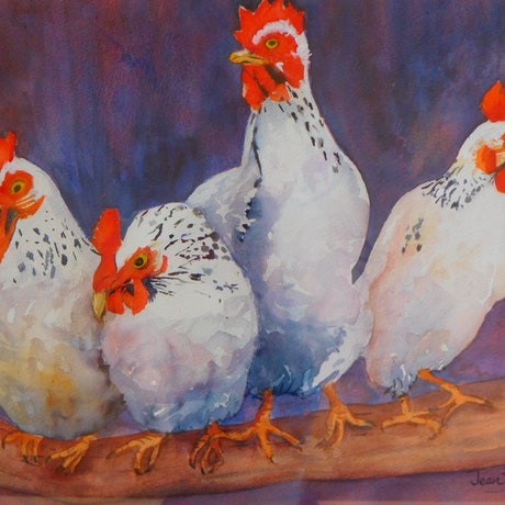 (CreativeWork) Chirping Chickens by Jean Parker. Watercolour Paint. Shop online at Bluethumb.