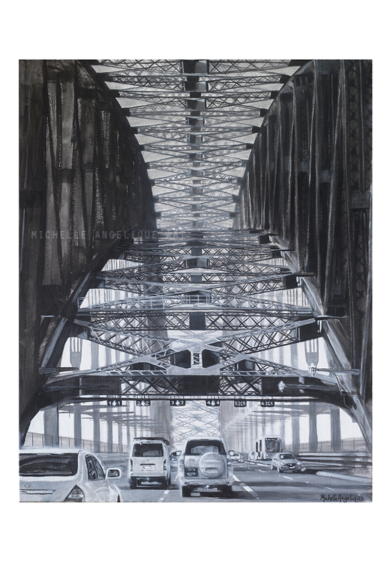 (CreativeWork) Through Sydney Harbour Bridge in Black and White Ed. 1 of 200 by Michelle Angelique. print. Shop online at Bluethumb.