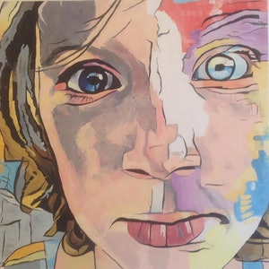 (CreativeWork) Abstract Girl's Face by Rohsaan McInnes. oil-painting. Shop online at Bluethumb.