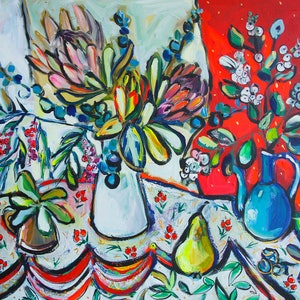 (CreativeWork) Still Life with Protea and Snowberries by Katerina Apale. arcylic-painting. Shop online at Bluethumb.