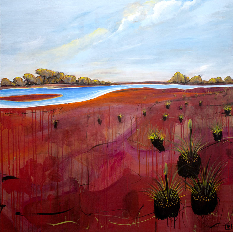 (CreativeWork) Meandering Promontory by Tania Chanter. arcylic-painting. Shop online at Bluethumb.