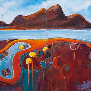 (CreativeWork) Meandering Coastal Road by Tania Chanter. arcylic-painting. Shop online at Bluethumb.