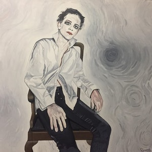 (CreativeWork) Goth man by Rohsaan McInnes. oil-painting. Shop online at Bluethumb.