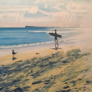 (CreativeWork) Ocean Grove Beach with Surfer and Seagull by Rohsaan McInnes. oil-painting. Shop online at Bluethumb.
