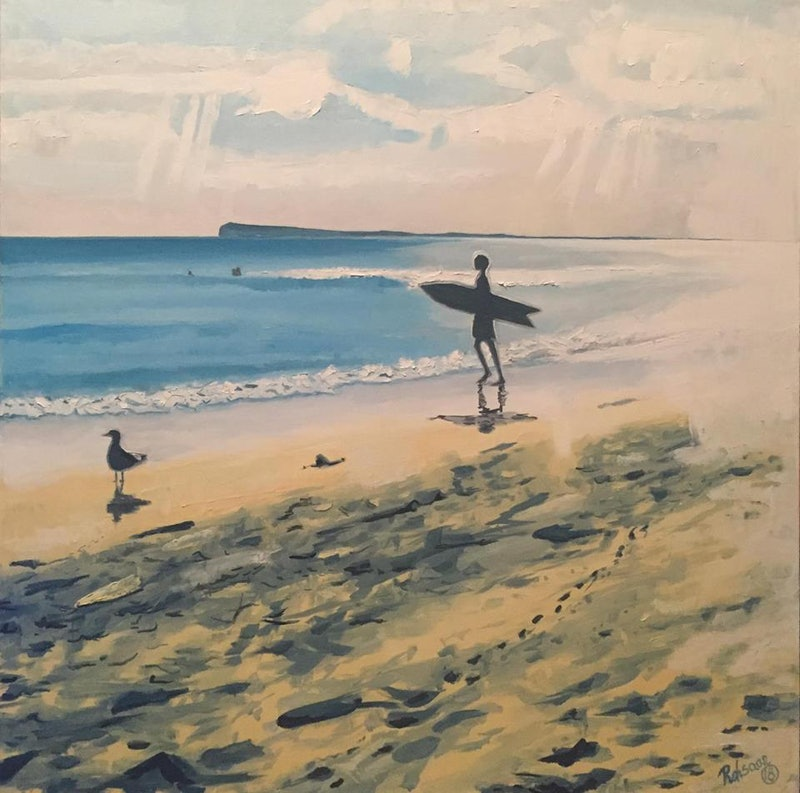 Ocean Grove Beach with Surfer and Seagull