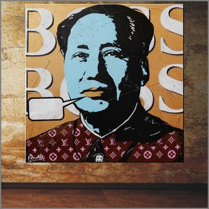 (CreativeWork) Supreme Boss Mao 100cm x 100cm Metallic Gold Boss Warhol Mashup  urban pop art Gloss finish FRANKO by _Franko _. mixed-media. Shop online at Bluethumb.