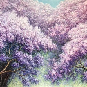 (CreativeWork) Blossoming Flowers ( Blue Jacaranda ) by Alex Mo. oil-painting. Shop online at Bluethumb.