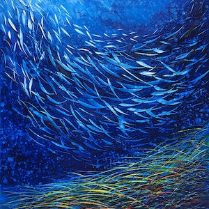 (CreativeWork) Fish With Sea Grass by David Clare. oil-painting. Shop online at Bluethumb.