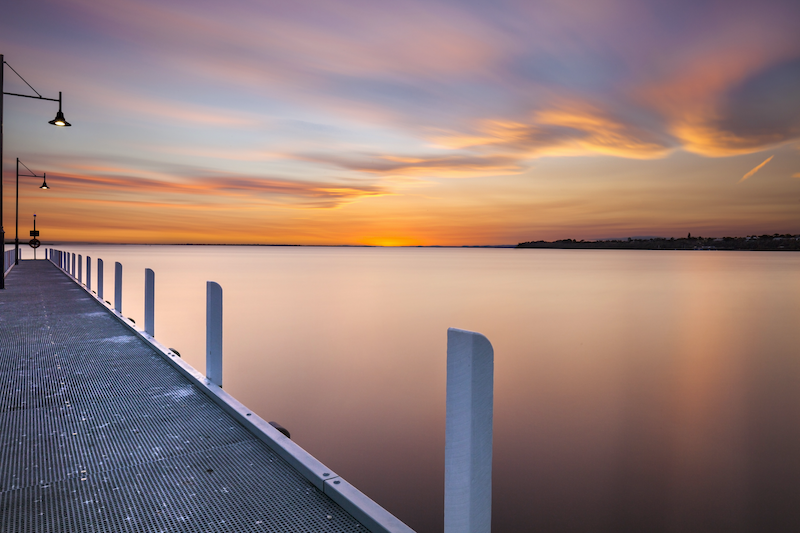 (CreativeWork) Lake King Jetty Sunset by Piers Buxton. photograph. Shop online at Bluethumb.