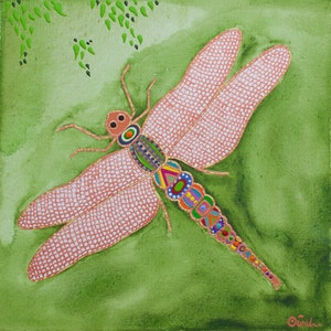 (CreativeWork) Dragonfly by Ornella Imber. acrylic-painting. Shop online at Bluethumb.