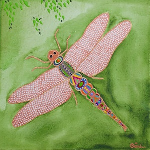 (CreativeWork) Dragonfly by Ornella Imber. arcylic-painting. Shop online at Bluethumb.