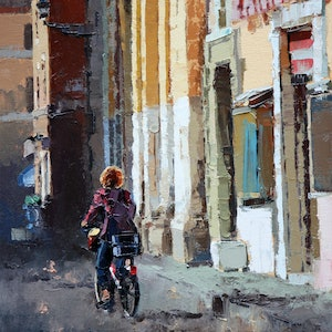 (CreativeWork) Streets Of Rome by Claire McCall. oil-painting. Shop online at Bluethumb.
