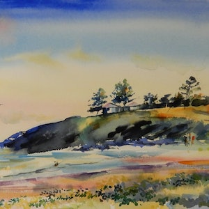 (CreativeWork) Shelly Beach by Elena Churilova. watercolour. Shop online at Bluethumb.