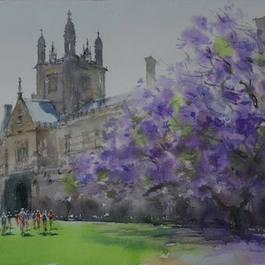 (CreativeWork) Jacaranda by Richard(Tiejun) Chao. watercolour. Shop online at Bluethumb.