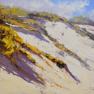 (CreativeWork) Coastal Dunescape, nsw by Graham Gercken. oil-painting. Shop online at Bluethumb.