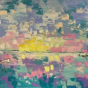(CreativeWork) Ocean of my imagination by Maggie Deall. arcylic-painting. Shop online at Bluethumb.