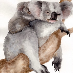 (CreativeWork) Koala and joey by Olivia Kate Biasin. watercolour. Shop online at Bluethumb.
