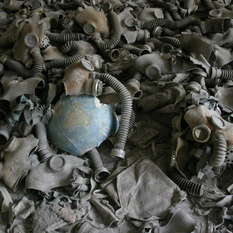 (CreativeWork) Gas Mask Scatter, Middle School No.3, Pripyat Ed. 1 of 100 by Rob Maxwell. Photograph. Shop online at Bluethumb.