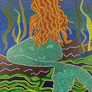 "(CreativeWork) ""The Mermaid"" by Joy Fitzsimons. arcylic-painting. Shop online at Bluethumb."