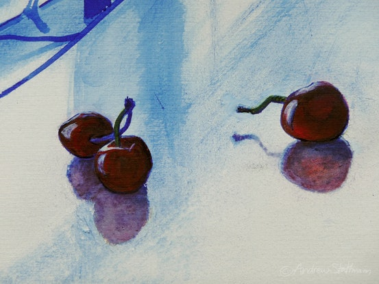 (CreativeWork) Interior with Tivoli and cherries by Andrew Stattmann. Mixed Media. Shop online at Bluethumb.