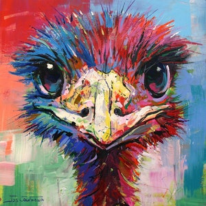 (CreativeWork) Emu 45 by Jos Coufreur. arcylic-painting. Shop online at Bluethumb.