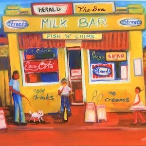(CreativeWork) Milk bar memories by angela mulligan. mixed-media. Shop online at Bluethumb.