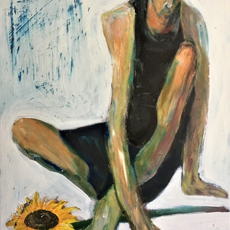 (CreativeWork) Man and Sunflower, 2 by Tobias Broughton. Mixed Media. Shop online at Bluethumb.