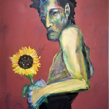 (CreativeWork) Man and Sunflower, 3 by Tobias Broughton. Mixed Media. Shop online at Bluethumb.