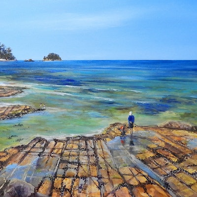 (CreativeWork) Seascape. Tesselated Pavement by Lindy Whitton. acrylic-painting. Shop online at Bluethumb.