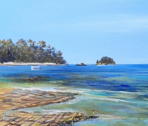 (CreativeWork) Seascape. Tesselated Pavement by Lindy Whitton. Acrylic Paint. Shop online at Bluethumb.