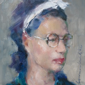 (CreativeWork) Intellectual by Lorraine Lewitzka. oil-painting. Shop online at Bluethumb.