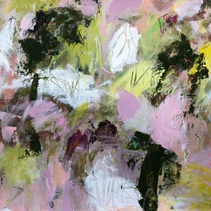 (CreativeWork) PINK, YELLOW AND ALL THINGS GREEN by Sonia Dickson. mixed-media. Shop online at Bluethumb.