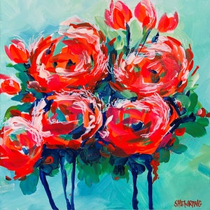 (CreativeWork) Flower Power by Jen Shewring. arcylic-painting. Shop online at Bluethumb.