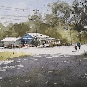 (CreativeWork) A cafe in the sun by jianqiang xu. watercolour. Shop online at Bluethumb.