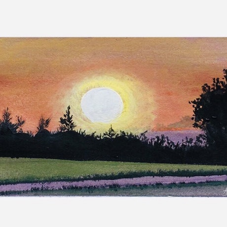 (CreativeWork) Sunset Glow by Afshan C.Koya. Acrylic Paint. Shop online at Bluethumb.