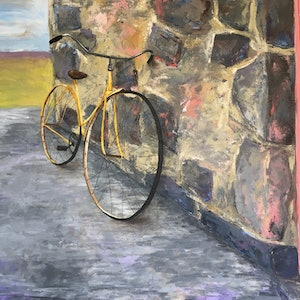 (CreativeWork) Vintage Bicycle, Tuscany by Eve Sellars. arcylic-painting. Shop online at Bluethumb.