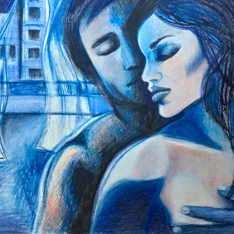 (CreativeWork) Blue Lovers - coloured pencil drawing & poem by Lee Wilde. Drawings. Shop online at Bluethumb.