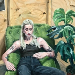 (CreativeWork) Ellie in her studio by James Needham. oil-painting. Shop online at Bluethumb.