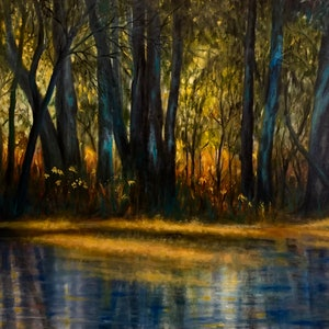 (CreativeWork) Dawn Light by Cathy Yarwood - Mahy. oil-painting. Shop online at Bluethumb.