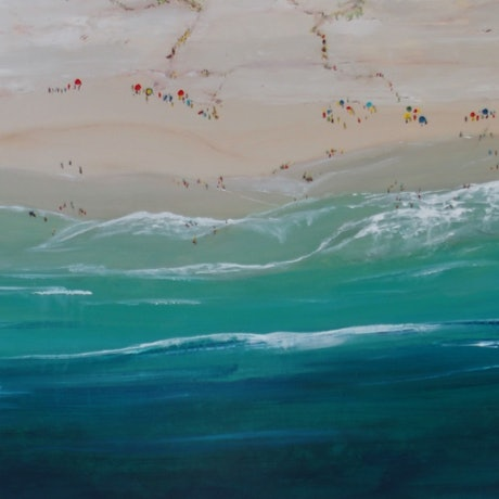 (CreativeWork) Lazing on the Beach by Angela Wilson. Acrylic Paint. Shop online at Bluethumb.
