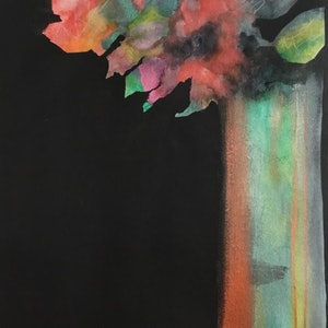 (CreativeWork) Tall Vase - Modern Floral by Cynthia Copley. mixed-media. Shop online at Bluethumb.