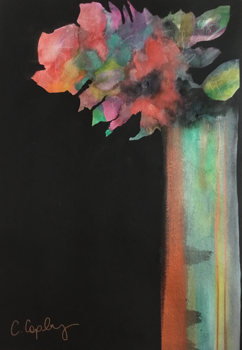 (CreativeWork) Tall Vase - Modern Floral by Cynthia Copley. Mixed Media. Shop online at Bluethumb.