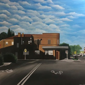 (CreativeWork) Shadows on Stanley Street by Amber Simon. arcylic-painting. Shop online at Bluethumb.