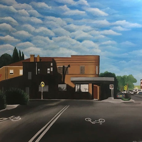 (CreativeWork) Shadows on Stanley Street by Amber Simon. Acrylic Paint. Shop online at Bluethumb.